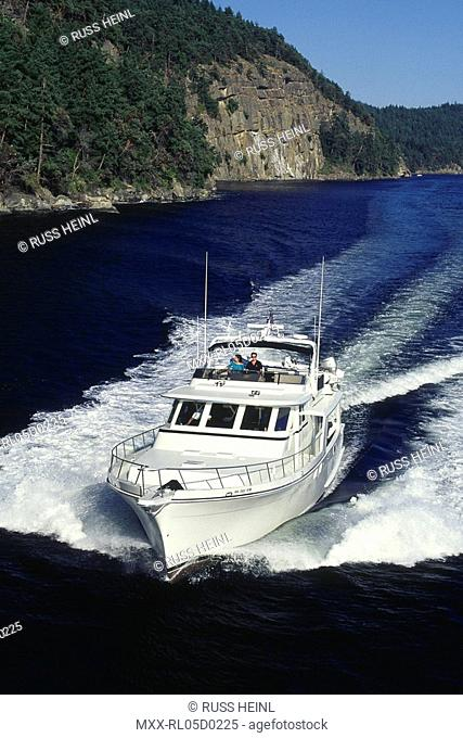 Aerial of power boating