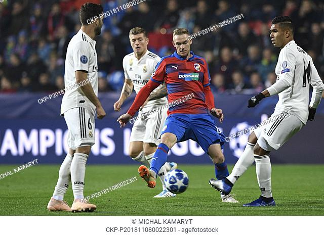 NACHO (Madrid), ROMAN PROCHAZKA (Plzen) and CASEMIRO (Madrid) in action during the UEFA Champions League match, group stage, group G