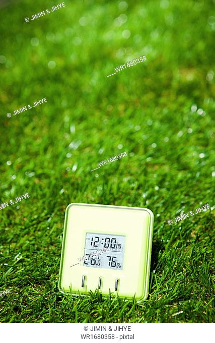 a thermometer on the grass