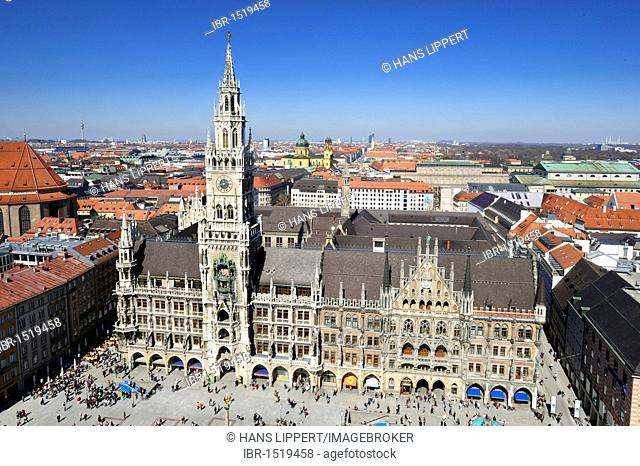 View from the St. Peter church on the town hall in Marienplatz square, Munich, Bavaria, Germany, Europe