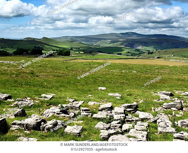 View Across Ribblesdale to Ingleborough from Winskill Stones near Stainforth Yorkshire Dales England