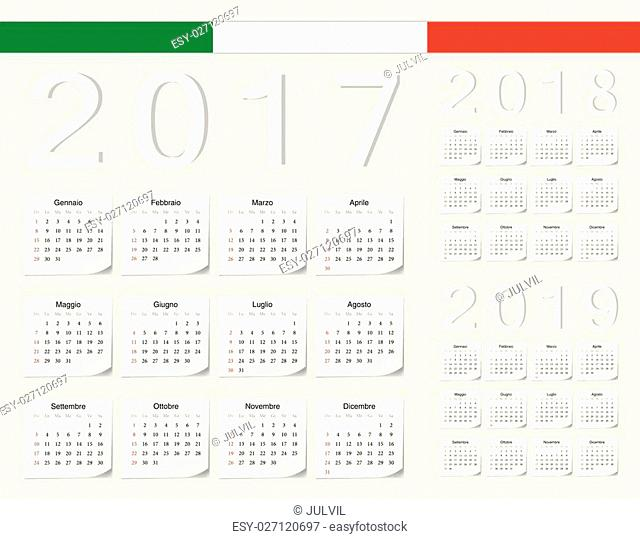 Set of Italian 2017, 2018, 2019 vector calendars with shadow angles. Week starts from Sunday