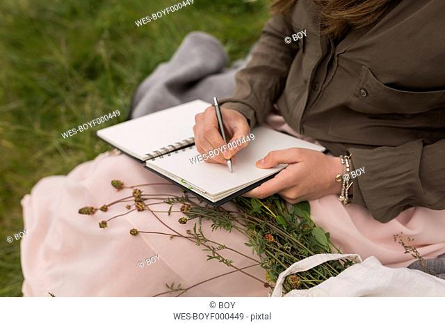 Young woman sitting on a meadow writing down something in her notebook, partial view