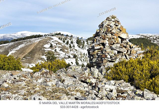Milestones in the Tiesa pass. Sierra Norte. Madrid. Spain