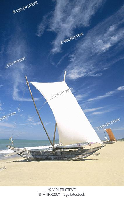 Beach, Boats, Fishing, Holiday, Landmark, Negombo, Outrigger, Sri lanka, Asia, Tourism, Traditional, Travel, Vacation