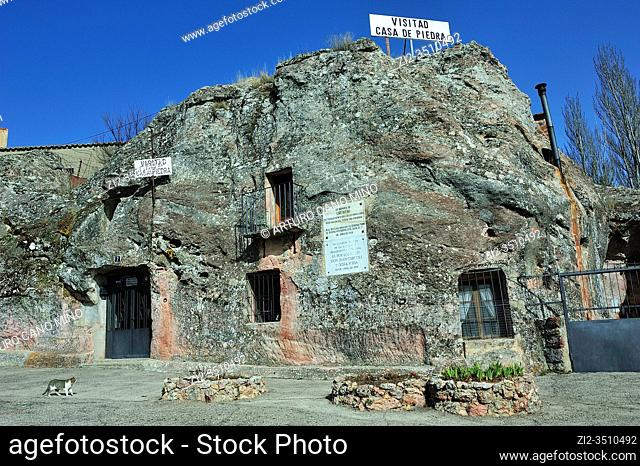 La Casa de Piedra is a house excavated in the stone. Alcolea del Pinar town, Guadalajara province, Spain