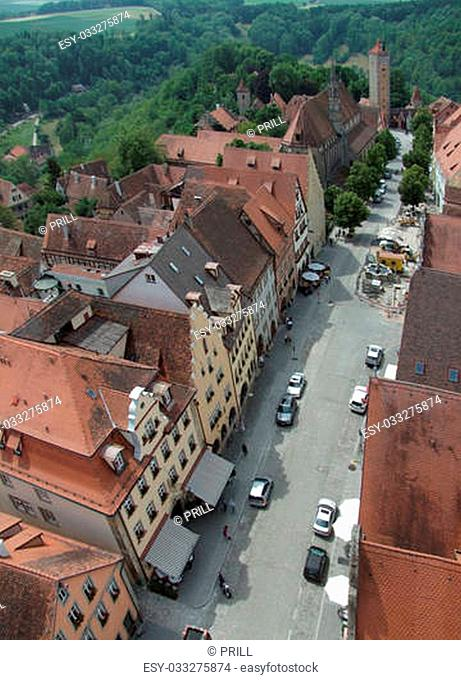 aerial view of Rothenburg ob der Tauber, a town in Middle Franconia in Bavaria (Germany)