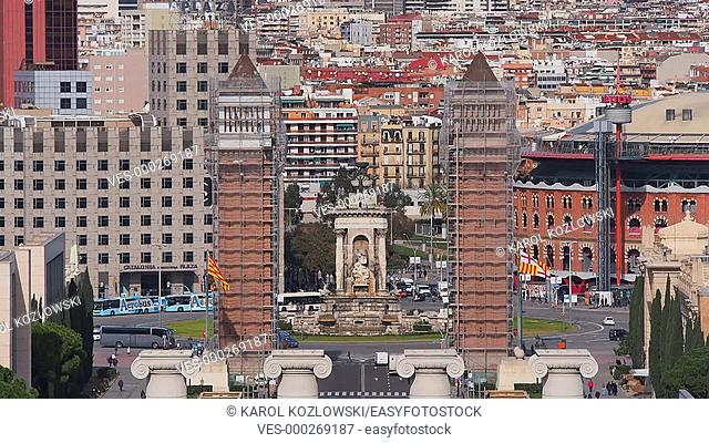 Placa Espanya - Spanish Square in Barcelona, Catalonia, Spain