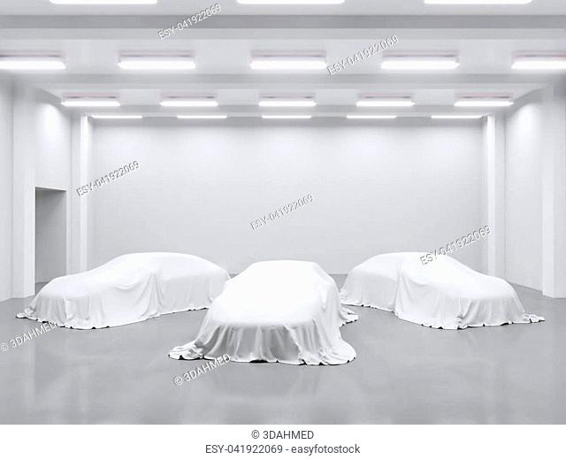 hangar with photo studio and covered with cloth car. 3d rendering, illustration showing, silk, smooth, studio, surprise, textile, transport, transportation