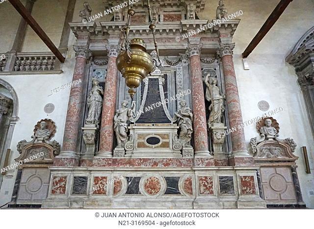 Monument to Gerolamo Cavazza. Church of Madonna de L'Orto, Cannaregio Sestiere. Venice, Veneto, Italy, Europe