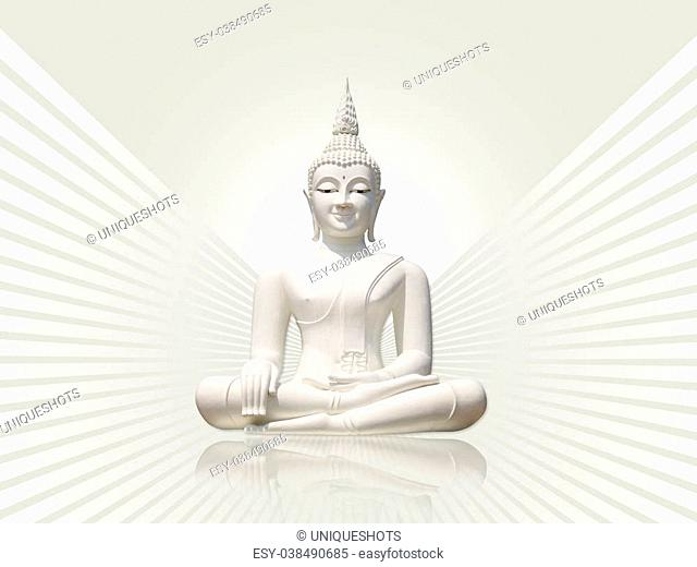 White buddha statue, isolated including clipping path against light grey rays background