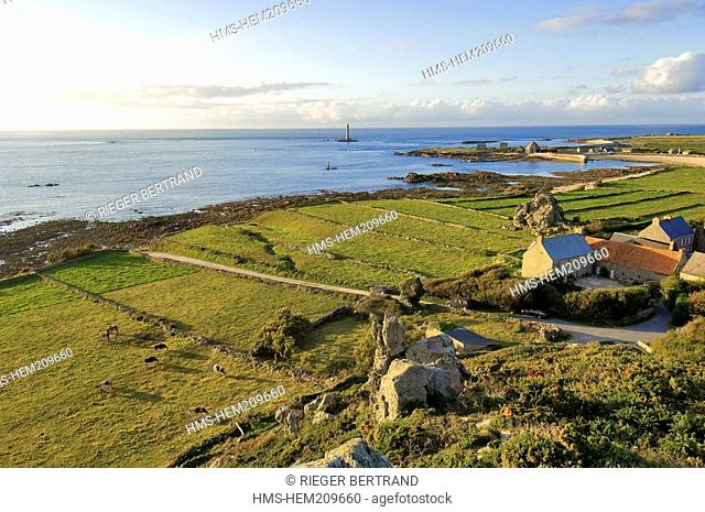 France, Manche, Cap de la Hague, small port of Goury, the lighthouse and the hamlet of la Roche