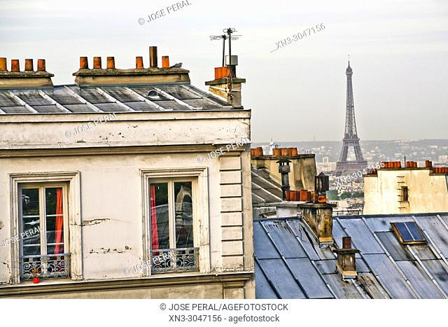 Panorama of Paris from Montmartre, on background Eiffel Tower, 18th arrondissement, Paris, France, Europe