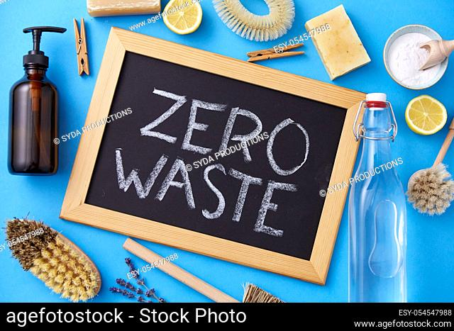 zero waste words on chalkboard and cleaning stuff