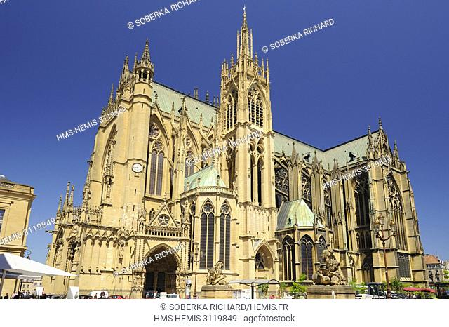 France, Moselle, Metz, Saint Etienne cathedral with Gothic architecture made of stone of Jaumont