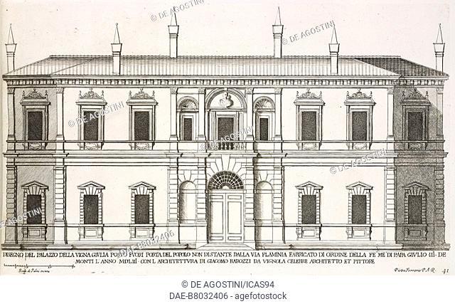 Facade of Villa Giulia, by Giacomo Barozzi, Rome, Italy, etching, drawing by Pietro Ferrerio, from Palazzi di Roma de piu celebri architetti
