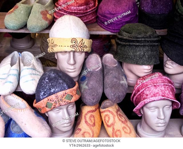 Turkish Fashion, Hats and Slippers, Istanbul, Turkey