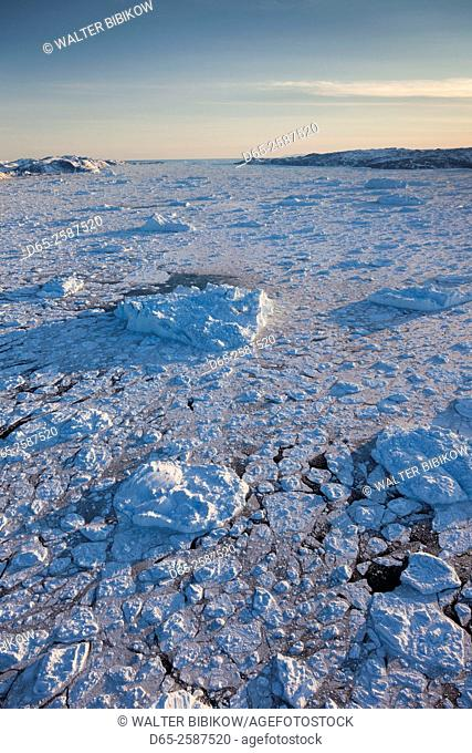 Greenland, Disko Bay, Ilulissat, floating ice, aerial view