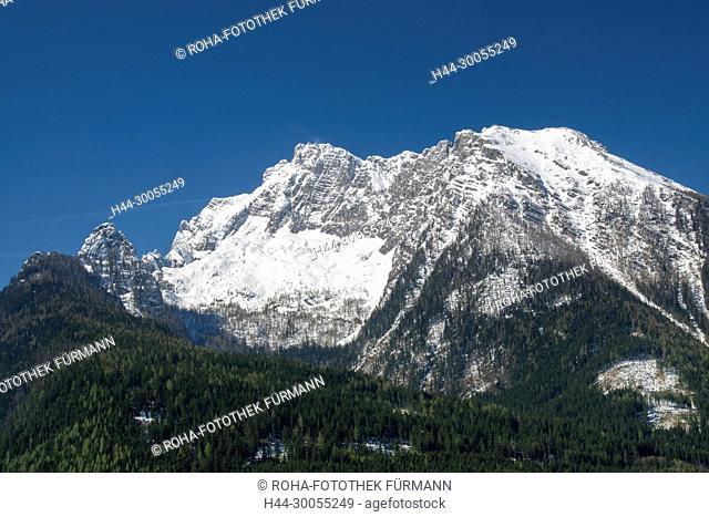 Berchtesgaden, Berchtesgadener Land, Ramsau, Hochkalter, Winter, Schnee, verschneit, Vorfrühling, Vorfruehing, Frühling, Fruehling, Gipfel
