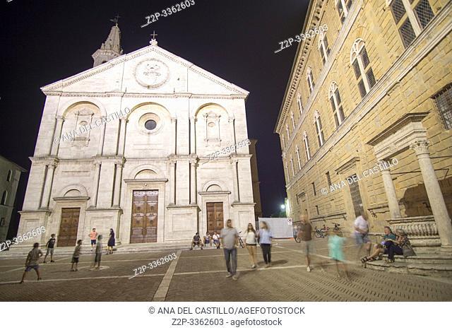 Pienza Orcia valley Tuscany on July 6, 2019 Italy. Santa Maria Assunta on the Piazza Pio II