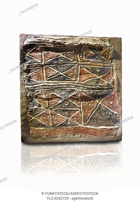 Wall fresco of geometric red and black triangles which appears to be a rug pattern copy. 6000 BC. . Catalhoyuk Collections