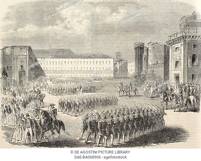 A huge crowd attends the parade of the troops in front of Victor Emmanuel II (1820-1878), King of Italy, Turin, Italy, engraving from a sketch by Giacomelli