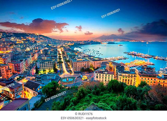 Aerial cityscape image of Naples, Campania, Italy during sunrise