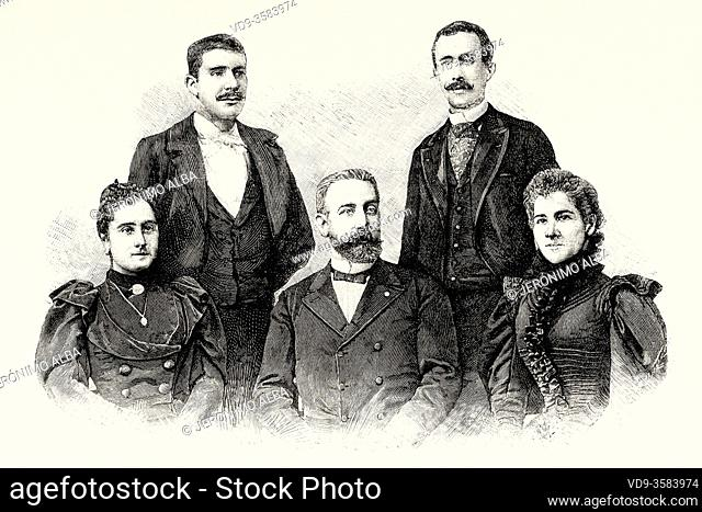 Portrait of Students and teachers of the Royal Conservatory of Music of Madrid, Spain. Europe. Old XIX century engraved illustration from La Ilustracion...