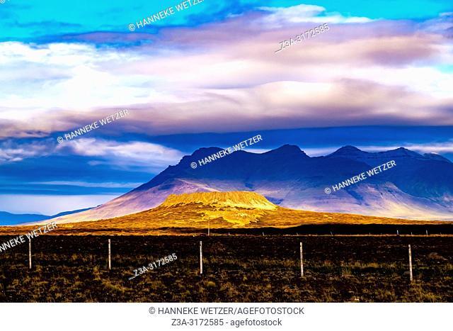 Remains of Saxhöll, extinct volcano on the western coast of Snæfellsnes, Iceland