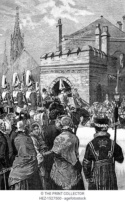 The Queen opening Parliament, 1846, (1900). Arrival of Queen Victoria's Royal Procession at the House of Lords. Illustration from The life and times of Queen...
