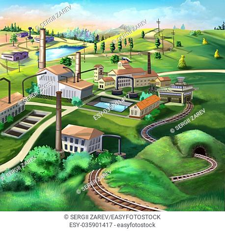 Digital painting of the Industrial landscape with factories, railroad and green plants