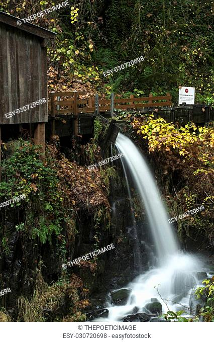 An autumn view of the Cedar Creek Grist Mill outside of Woodland, Washington