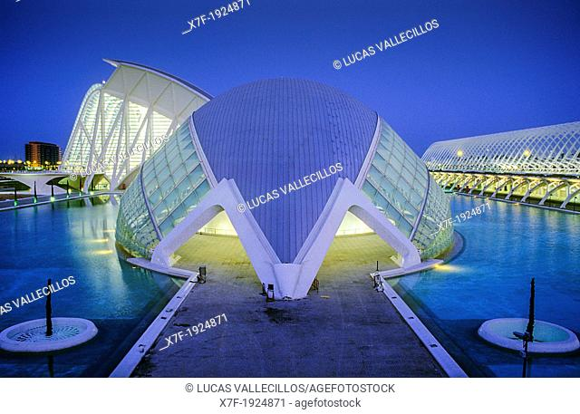 The Hemisferic and in background at left the Príncipe Felipe Sciences Museum, City of Arts and Sciences, by S  Calatrava  Valencia  Spain