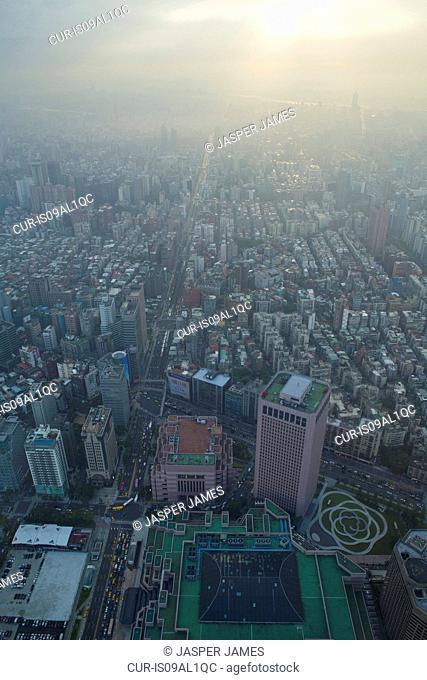 Aerial view of city and smog, Taipei, Taiwan, China