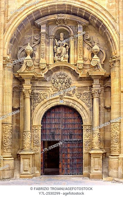 Baroque facade of the church of San Pedro, Viana, Navarre, Spain