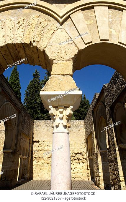 Cordoba (Spain). Arches of the Military House in the Superior Basilical Building of the palatine city of Medina Azahara