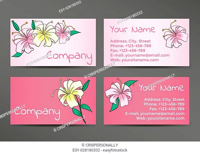 Pink business cards template with lily flowers. Vector illustration EPS10