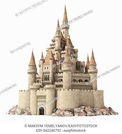 Old fairytale castle on the hill isolated on white. 3d illustration