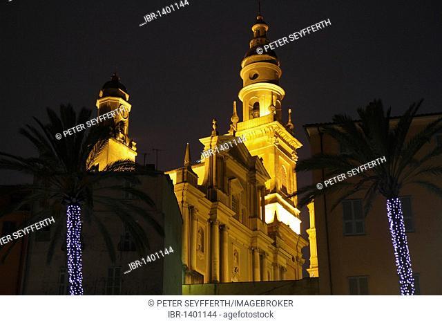 Église St. Michel church in Menton at Christmas time, palm trees with fairy lights, Département Alpes Maritimes, Région Provence-Alpes-Côte d'Azur