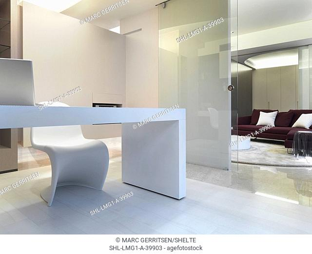 Simple white desk with modern chair