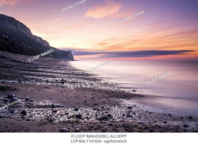 A deserted beach before dawn on the Jurassic coast