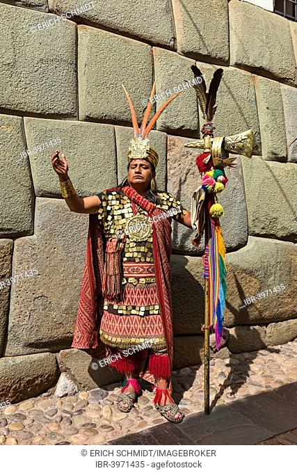 Local man in a traditional Incan costume, Cusco, Peru