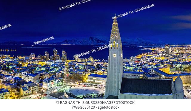 Hallgrimskirkja Church, Reykjavik Iceland. This image is shot using a drone