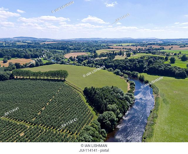 Aerial View Of Green English Farm Fields In Herefordshire