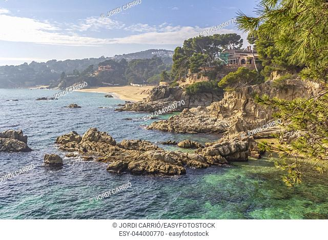 View of the cliffs of the coastal road from Platja d'Aro to Calonge on the Costa Brava, Catalonia