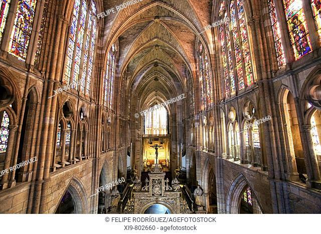 Main nave of cathedral, Leon. Castilla-Leon, Spain