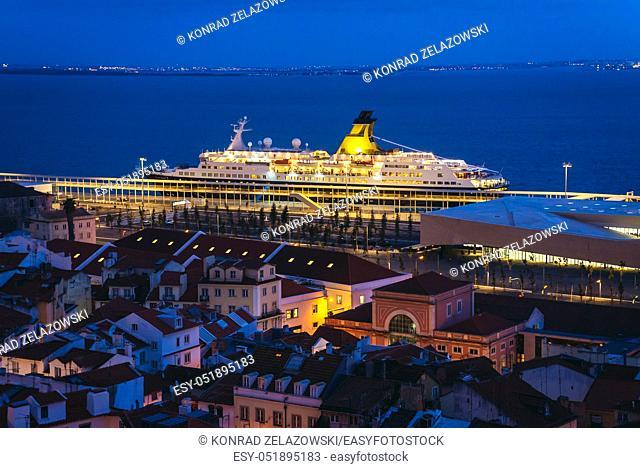 View from Miradouro de Santa Luzia viewing point in Lisbon city, Portugal with Saga Pearl II cruise ship