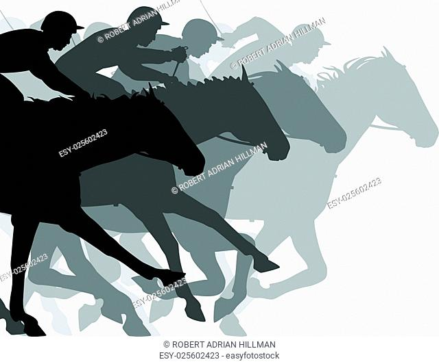 Editable vector silhouettes of a very close horse race