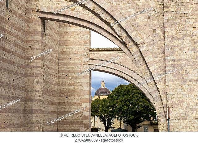 Detail of the church outside Santa Chiara in Assisi (Italy)