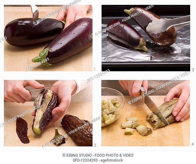 Vegan aubergine dip being made